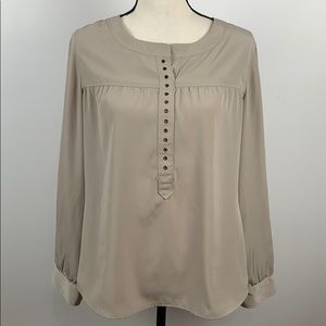 Chico's Long Sleeve Beige Blouse Size 0 (S/4)